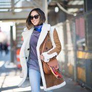 Clothing, Eyewear, Textile, Outerwear, Sunglasses, Denim, Bag, Style, Jacket, Street fashion,
