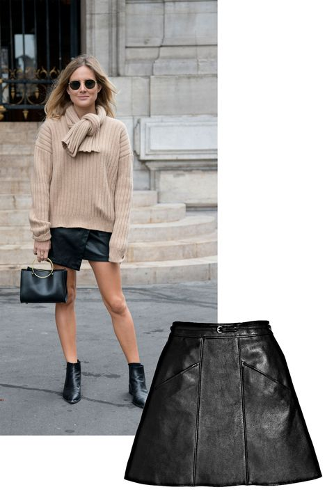 """<p>Crisp weather signifies that it's time to move summer's lightweight dresses and fabrics to the back of the closet. Retire silks and cotton, but not the silhouettes:&nbsp;Most work in forever-cool leather, including this snappy A-line skirt.</p><p><em data-redactor-tag=""""em"""">Coach 1941 Leather A-Line Skirt, $695, </em><a rel=""""noskim"""" href=""""http://www.coach.com/coach-designer-pants-leather-a-line-skirt/56692.html?CID=D_B_ELL_11593"""" target=""""_blank""""><em data-redactor-tag=""""em"""">coach.com</em></a></p>"""