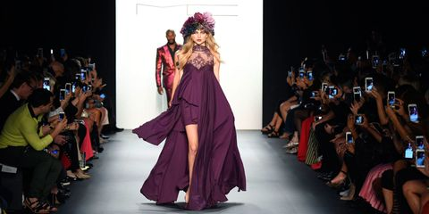 Hairstyle, Event, Fashion show, Dress, Style, Runway, Fashion model, Formal wear, Purple, Gown,