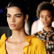 Ear, Hairstyle, Yellow, Forehead, Eyebrow, Style, Black hair, Eyelash, Amber, Street fashion,