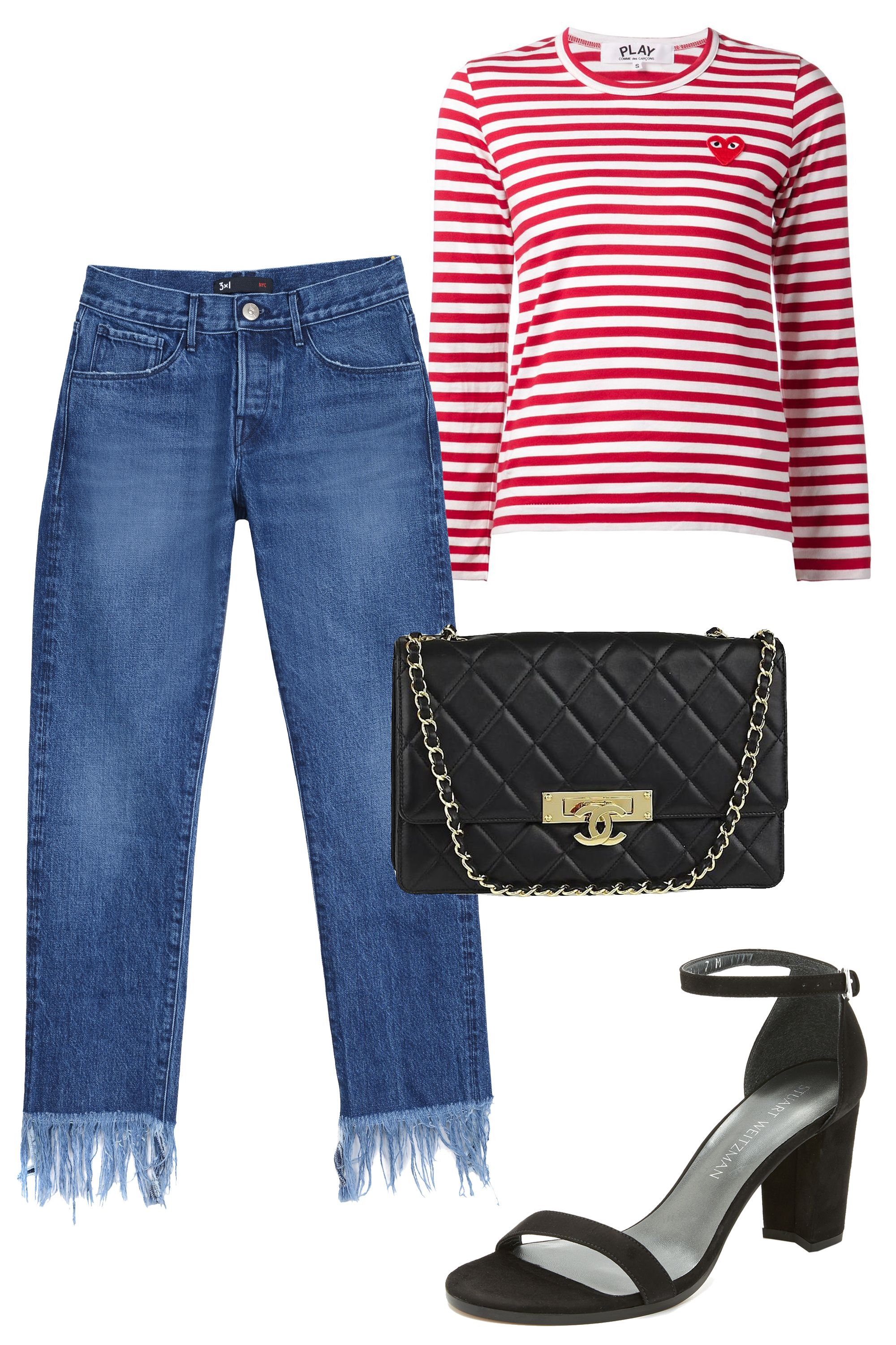 "<p>This fashion week I'm keeping it as comfortable as possible! Cool jeans, a striped t-shirt, and low block heels will be a go-to outfit combo of mine. <em data-redactor-tag=""em"" data-verified=""redactor"">—Nikki Ogunnaike, ELLE.com Senior Fashion Editor</em><em data-redactor-tag=""em"" data-verified=""redactor""></em></p><p><em data-redactor-tag=""em"" data-verified=""redactor"">Comme des Garcons Play Long Sleeve Striped T-Shirt, $116; <a href=""https://urldefense.proofpoint.com/v2/url?u=http-3A__www.farfetch.com_shopping_women_Comme-2DDes-2DGarons-2DPlay-2Dlong-2Dsleeve-2Dstriped-2DT-2Dshirt-2Ditem-2D10888110.aspx-3Fgclid-3DCPWov4vf-5Fc4CFQyRaQod9owAvg-26fsb-3D1-26ef-5Fid-3DV727QwAAAfSoBHPk-3A20160907170707-3As&d=DQMFaQ&c=B73tqXN8Ec0ocRmZHMCntw&r=MD9PON_3e_YfvBNZlbD4wy2VpCsZUH7wLDWAZkHMYao&m=5rE6Ix0mt_-SIADqiaKwENKZbn7_ISdIiUbdbndJEIY&s=kpPhSLrAcQFvYCudFzO1BBxlfATBmcFsb3PkQTYMZRs&e="" target=""_blank"">farfetch.com</a></em></p><p><em data-redactor-tag=""em"" data-verified=""redactor"">3x1 Crop Fringe Jeans, $325; <a href=""https://urldefense.proofpoint.com/v2/url?u=http-3A__www.barneys.com_product_3x1-2Dcrop-2Dfringe-2Djeans-2D504734134.html&d=DQMFaQ&c=B73tqXN8Ec0ocRmZHMCntw&r=MD9PON_3e_YfvBNZlbD4wy2VpCsZUH7wLDWAZkHMYao&m=5rE6Ix0mt_-SIADqiaKwENKZbn7_ISdIiUbdbndJEIY&s=T73C6Om4BW51ZYWPfWABtMYIvh7xTzwrzlOmSVGVH-8&e="" target=""_blank"">barneys.com</a></em></p><p><em data-redactor-tag=""em"" data-verified=""redactor"">Stuart Weitzman Nearlynude Sandals, $398; <a href=""https://urldefense.proofpoint.com/v2/url?u=https-3A__www.shopbop.com_nearlynude-2Dsandal-2Dstuart-2Dweitzman_vp_v-3D1_1553615206.htm-3FcurrencyCode-3DUSD-26extid-3DSE-5Ffroogle-5FSC-5Fusa-26cvosrc-3Dcse.google.STUAR20481-26cvo-5Fcampaign-3DSB-5FGoogle-5FUSD-26s-5Fkwcid-3DAL-213510-213-21-257Bcreative-257D-21-257Bmatchtype-257D-21-257Bplacement-257D-21-257Bnetwork-257D-21-21-257Bkeyword-257D-26ef-5Fid-3DV727QwAAAfSoBHPk-3A20160907170804-3As&d=DQMFaQ&c=B73tqXN8Ec0ocRmZHMCntw&r=MD9PON_3e_YfvBNZlbD4wy2VpCsZUH7wLDWAZkHMYao&m=5rE6Ix0mt_-SIADqiaKwENKZbn7_ISdIiUbdbndJEIY&s=tFdE8ZZXf9q1NEIrEuMV-lImVJ_HcKAbH1ySJanxeFU&e="" target=""_blank"">shopbop.com</a></em></p><p><em data-redactor-tag=""em"" data-verified=""redactor"">Chanel Golden Class Large Medium Black Gold Flap Shoulder Bag, $3,150; </em><a href=""https://urldefense.proofpoint.com/v2/url?u=https-3A__www.tradesy.com_bags_chanel-2Dshoulder-2Dbag-2Dnavy-2D16146301_-3Futm-5Fmedium-3Dpla-26utm-5Fsource-3Dgpl-26gclid-3DCPf4o7Xf-5Fc4CFZQAaQodBQgM6g-26gclsrc-3Daw.ds&d=DQMFaQ&c=B73tqXN8Ec0ocRmZHMCntw&r=MD9PON_3e_YfvBNZlbD4wy2VpCsZUH7wLDWAZkHMYao&m=5rE6Ix0mt_-SIADqiaKwENKZbn7_ISdIiUbdbndJEIY&s=WiT5RFq5ZL58hA37-j6t4S2DtybH6CwNlHWkm8zY4qA&e="" target=""_blank""><em data-redactor-tag=""em"" data-verified=""redactor"">tradesy.com</em></a></p>"