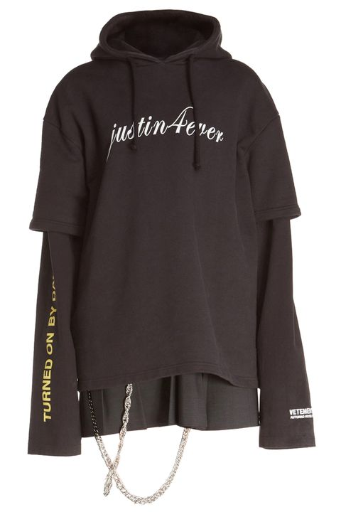 """<p>We&nbsp;unabashedly&nbsp;love Vetements and&nbsp;tour merch, so it's only natural that a mash-up&nbsp;would have us frothing at the mouth. This hoodie dress is a fusion of everything that's trending, so&nbsp;it definitely&nbsp;won't be available for long.&nbsp;</p><p><em data-redactor-tag=""""em"""">Vetements Justin4Ever Double Sleeve Graphic Hoodie Dress, $2,690;&nbsp;</em><em data-redactor-tag=""""em""""><a href=""""http://shop.nordstrom.com/s/vetements-justin4ever-double-sleeve-graphic-hoodie-dress/4376997?origin=category-personalizedsort"""" target=""""_blank"""">nordstrom.com</a></em></p><p>For more graphic trends, shop at <a href=""""https://www.westfield.com/products/collection/graphic-sweats?utm_source=Hearst&amp;utm_medium=Elle&amp;utm_content=Graphic-Sweats"""" target=""""_blank"""">Westfield</a></p>"""