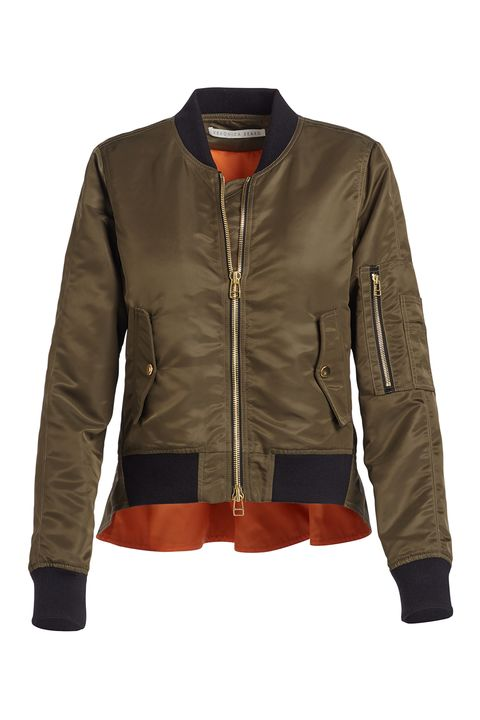 """<p>""""I will be living in a bomber for fall.&nbsp;There are so many options, so you can really express your personality!"""" Chauvin suggests embroidering your jacket with your initials for an added personal touch.<br> </p><p><em data-redactor-tag=""""em"""">Veronica Beard Satin Bomber Jacket, $695; <a href=""""http://www.neimanmarcus.com/Veronica-Beard-Satin-Bomber-Jacket-Army-Green/prod190690152/p.prod?icid=&amp;searchType=MAIN&amp;rte=%2Fsearch.jsp%3Ffrom%3DbrSearch%26request_type%3Dsearch%26search_type%3Dkeyword%26q%3Dtcml5&amp;eItemId=prod190690152&amp;cmCat=search&amp;isDepictionRedirect=true"""" target=""""_blank""""><span class=""""highlight"""" data-redactor-tag=""""span"""" data-redactor-class=""""highlight"""" data-verified=""""redactor"""">neiman</span>marcus.com</a></em></p>"""