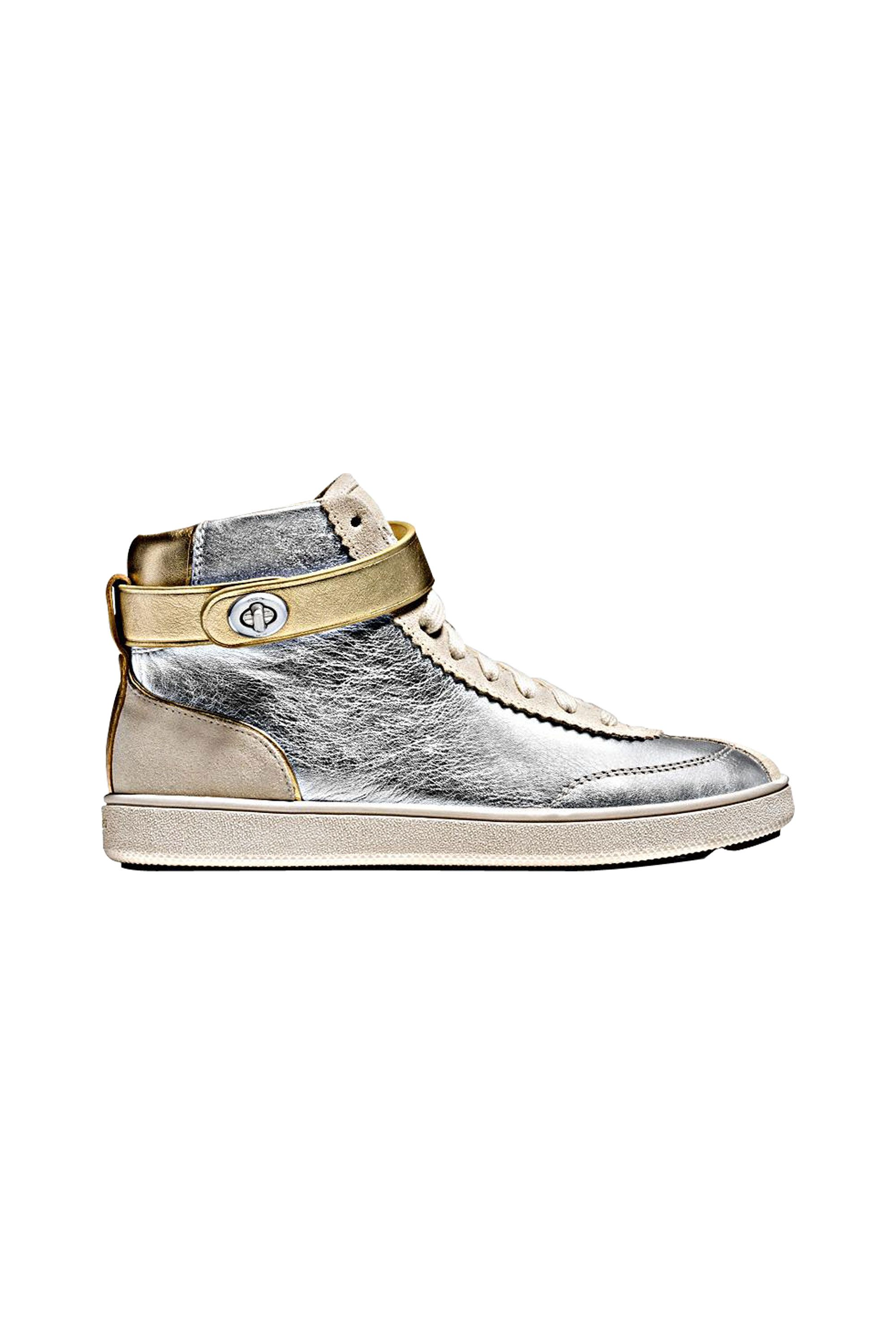 "<p>These sneakers—with their sleek metallic finish and clever turnlock fastening—are futuristic, but feel right with this season's varsity-inspired bombers. The shine commands serious attention, appealing to the kids who ruled the school.<br></p><p><em data-redactor-tag=""em"">Coach 1941 C213 High Top Sneaker, $350, <a rel=""noskim"" href=""http://www.coach.com/coach-designer-sneakers-c213-high-top-sneaker/Q8922.html?CID=D_B_ELL_11742"" target=""_blank"">coach.com</a></em></p>"