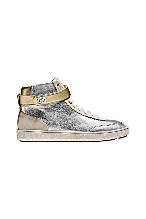 """<p>These sneakers—with their sleek metallic finish and clever turnlock fastening—are futuristic, but feel right with this season's varsity-inspired bombers. The shine commands serious attention, appealing to the kids who ruled the school.<br></p><p><em data-redactor-tag=""""em"""">Coach 1941 C213 High Top Sneaker, $350, <a rel=""""noskim"""" href=""""http://www.coach.com/coach-designer-sneakers-c213-high-top-sneaker/Q8922.html?CID=D_B_ELL_11742"""" target=""""_blank"""">coach.com</a></em></p>"""