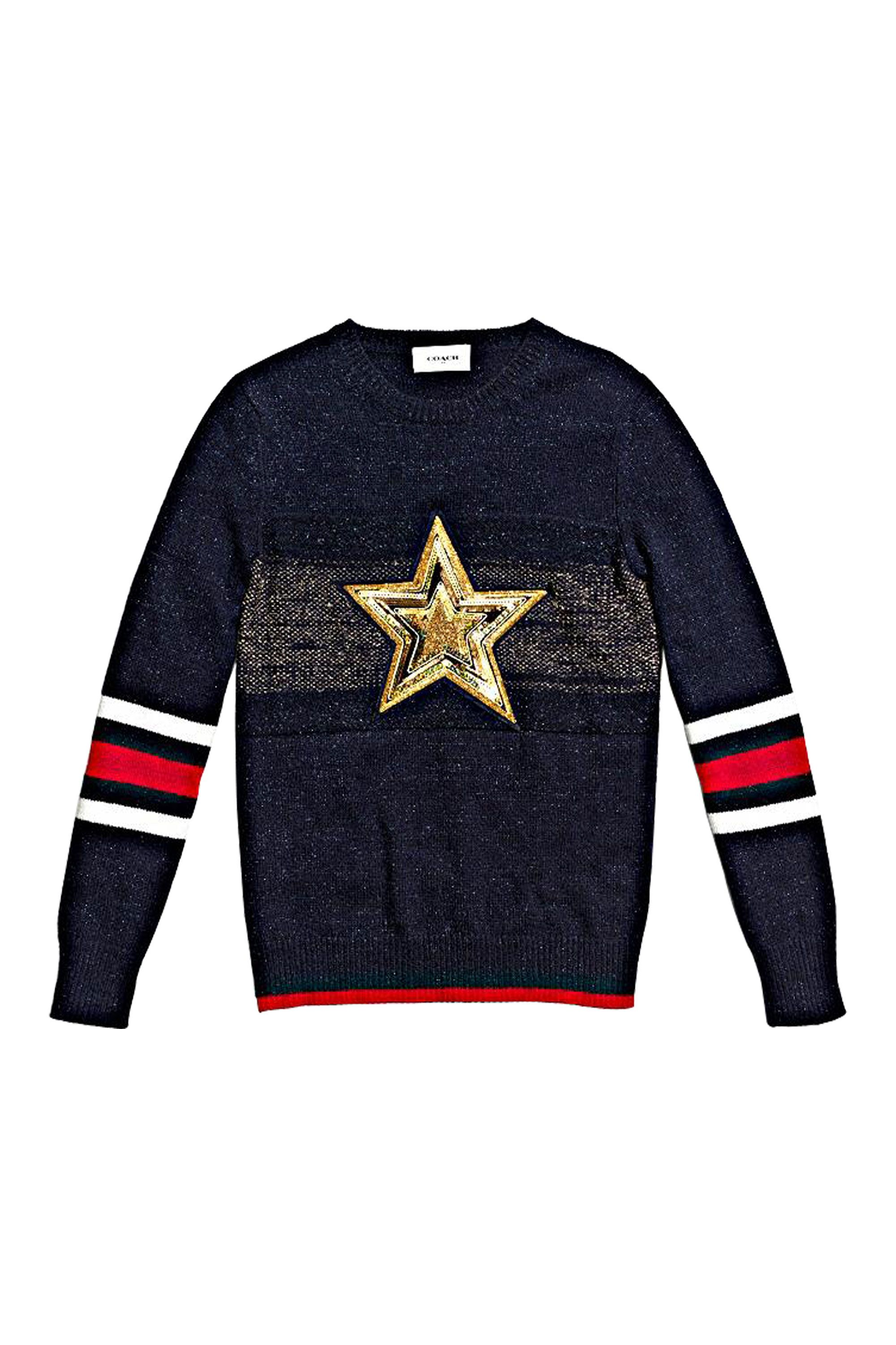 "<p>Collegiate-inspired fashion at its most optimistic, this wear-with-everything sweater works with jeans or a tailored skirt. If you never missed a pep rally, this knit's for you.</p><p><em data-redactor-tag=""em"">Coach 1941 Wool Glitter Star Crewneck Sweater, $695, <a rel=""noskim"" href=""http://www.coach.com/coach-designer-tops-wool-glitter-star-crewneck-sweater/56080.html?CID=D_B_ELL_11744"" target=""_blank"">coach.com</a></em></p>"