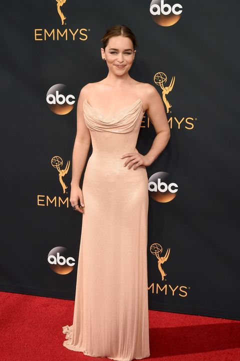 Emilia Clarke Wears Naked Dress To Emmys 2016 Emilia