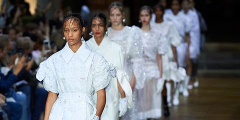 People, White, Fashion, Youth, Fashion design, Audience, Haute couture, Fashion model, Fashion show, Makeover,