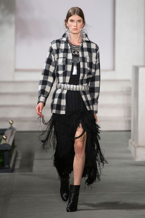 Clothing, Sleeve, Textile, Joint, Plaid, Outerwear, Fashion show, Collar, Pattern, Style,