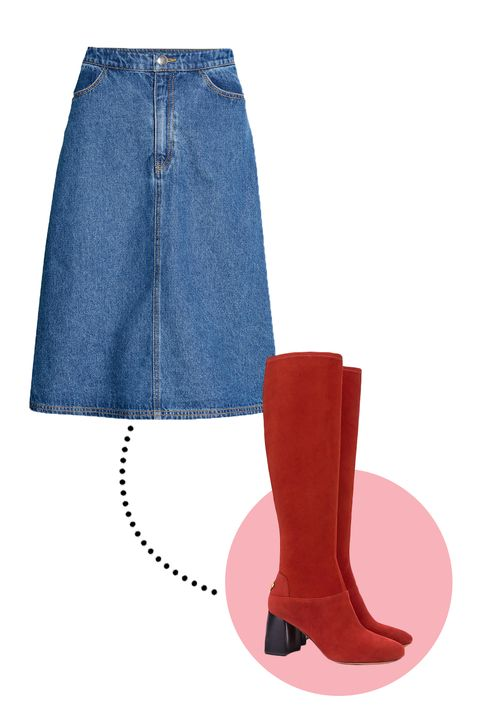 7def57043 No matter the skirt length, an A-line silhouette always looks good with  slim, knee-high boots. This denim and suede combo is a subtle way to evoke  the '70s ...