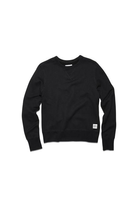 Sleeve, Collar, White, Black, Pattern, Sweater, Sweatshirt, Brand, Active shirt, Top,