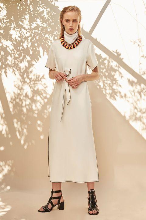 Sleeve, Shoulder, Dress, Style, One-piece garment, Jewellery, Day dress, Fashion, Fashion model, Beige,