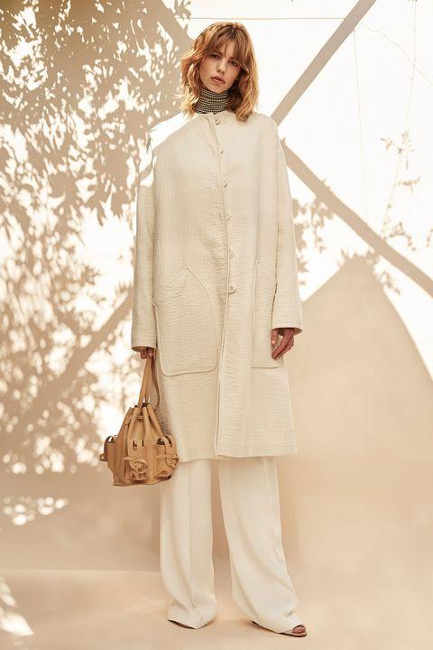 Sleeve, Bag, Fashion, Fashion model, Costume design, Street fashion, Beige, Luggage and bags, Fur, High heels,