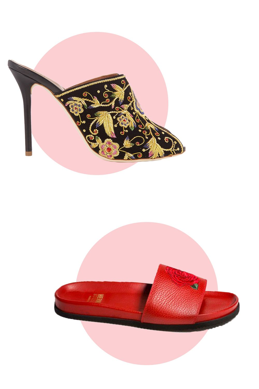 "<p>Malone Souliers Dawn Embroidered Velvet Mules, $1265; <a href=""http://www.matchesfashion.com/us/products/Malone-Souliers-Dawn-embroidered-velvet-mules-1066753"">matchesfashion.com</a></p><p>Buscemi Slides Herman Market, $396; <a href=""http://www.buscemi.com/collections/womens-shoes.html?gclid=CjwKEAjwgo6_BRC32q6_5s2R-R8SJAB7hTG-cN1ckRrDiLEoeISA17R4err_JZxRY_41PyRN8hWJ6xoCcv_w_wcB"">buscemi.com</a></p>"