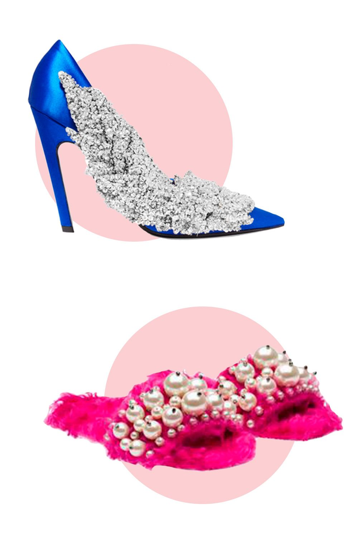 "<p>Balenciaga Sequin-Embellished Satin Pumps, $2580; <a href=""https://www.net-a-porter.com/us/en/product/768407?cm_mmc=ProductSearchPLA-_-US-_-Shoes-_-Pumps-Google&gclid=CjwKEAjwgo6_BRC32q6_5s2R-R8SJAB7hTG-h6VS_jFIbdksHf7hFArGa49AUSqFJx77cBiWDU4jdhoCln7w_wcB"">net-a-porter.com</a></p><p>Miu Miu Slippers, $950; <a href=""http://www.miumiu.com/en/US/e-store/dep/shoes/cat/slippers/product/5XX115_3I33_F0029_F_B005#department_view=true&ref=1474569286194"">miumiu.com</a></p>"