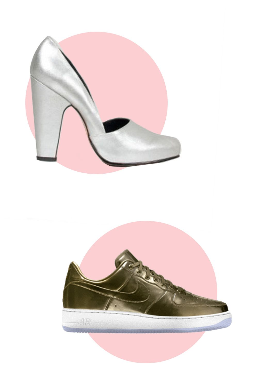 """<p>Rachel Comey Solitare Heels, $414; <a href=""""https://www.rachelcomey.com/womens-store/shoes/almost-sold-out/solitaire-3.html?color=Silver&size=5"""">rachelcomey.com</a></p><p>Nike Air Force 1 Low Premium iD, $165; <a href=""""http://store.nike.com/us/en_us/product/air-force-1-low-premium-id/?piid=42900&pbid=845052772#?pbid=845052772"""">nike.com</a></p>"""