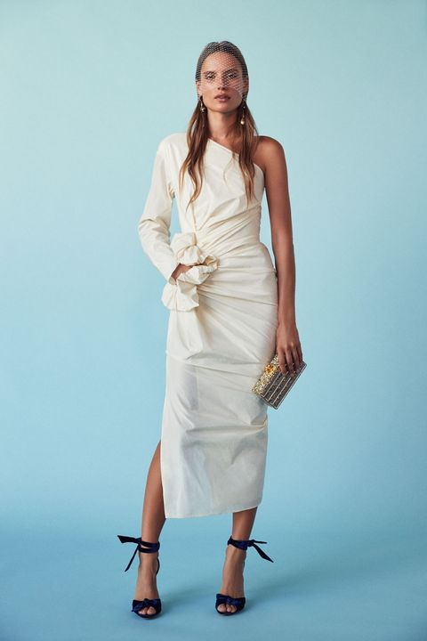 "<p>Lanvin One Shoulder Silk Dress, $3,195; <a href=""http://www.fwrd.com/product-lanvin-one-shoulder-silk-dress-in-ivory/LANV-WD26/?d=Womens&code=LANV-WD26"">fwrd.com</a></p><p>Alexandre Birman Velvet New Clarita Heels, $650; <a href=""http://www.fwrd.com/product-alexandre-birman-velvet-new-clarita-heels-in-royal/ABIR-WZ27/?d=Womens&code=ABIR-WZ27"">fwrd.com</a></p><p>Edie Parker Jean Striped Clutch, $1,195; <a href=""http://www.fwrd.com/product-edie-parker-jean-striped-clutch-in-gold-silver/EDIF-WY28/?d=Womens&code=EDIF-WY28"">fwrd.com</a></p><p>Alexander McQueen Leaf Charm Earrings, $995; <a href=""http://www.fwrd.com/product-alexander-mcqueen-leaf-charm-earrings-in-gold/AMCQ-WL57/?d=Womens&code=AMCQ-WL57"">fwrd.com</a></p>"