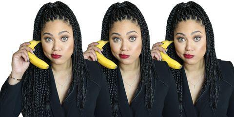 Yellow, Hairstyle, Eyebrow, Style, Organ, Eyelash, Beauty, Fashion, Temple, Black hair,