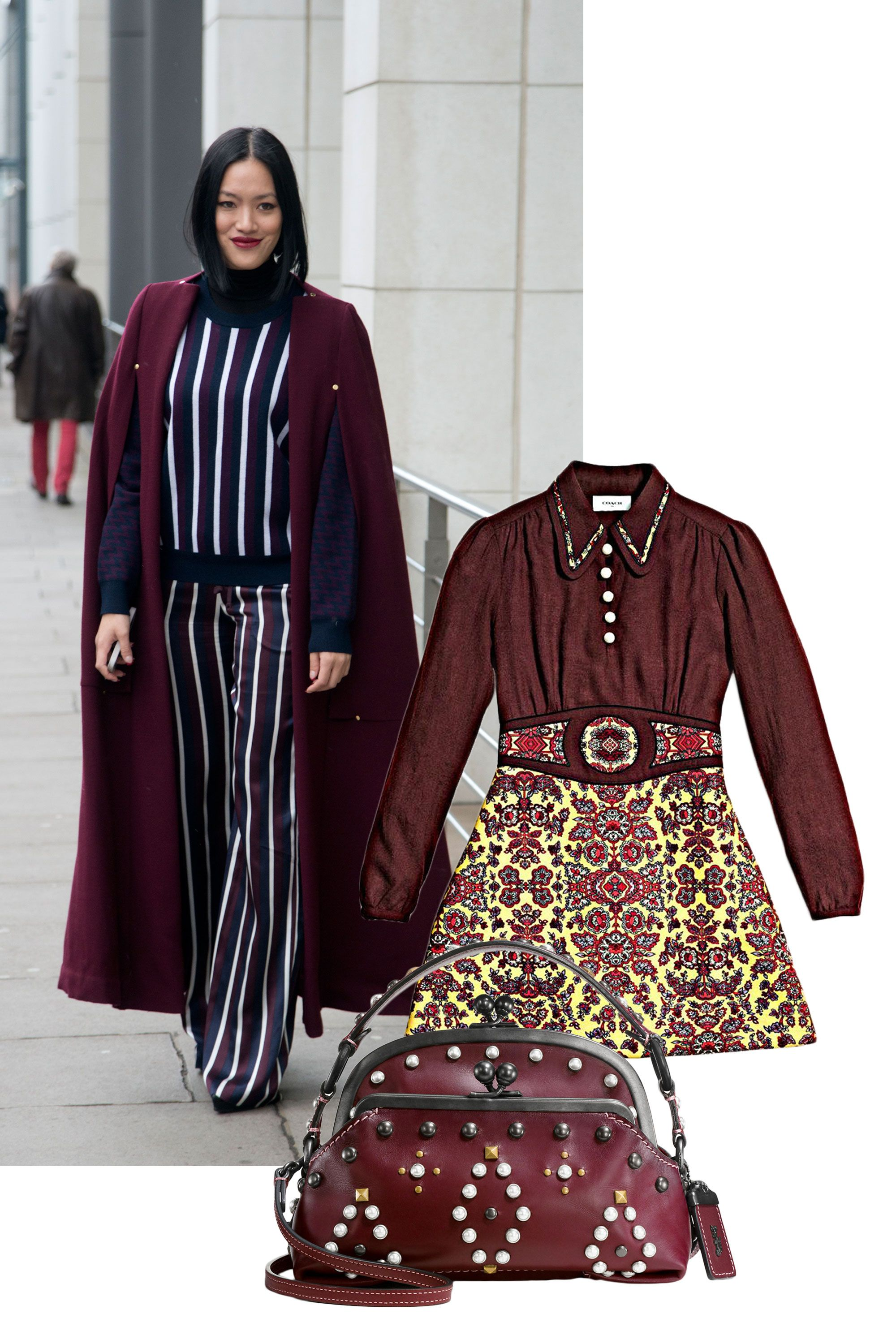 "<p>An autumnal shade that never fades away? Rich burgundy. The deep jewel tone works equally well in clothing and accessories, and anything snapped up <em data-redactor-tag=""em"" data-verified=""redactor"">this</em> fall can be worn for years to come.</p><p><em data-redactor-tag=""em"" data-verified=""redactor"">Coach 1941 Forest Flower Varsity Dress, $695, <a rel=""noskim"" href=""http://www.coach.com/coach-designer-dresses-forest-flower-varsity-dress-with-collar/56385.html?CID=D_B_ELL_11591"" target=""_blank"">coach.com</a>; Coach 1941 Western Rivets Outlaw Satchel</em><em data-redactor-tag=""em"" data-verified=""redactor"">, $495, <a rel=""noskim"" href=""http://www.coach.com/western-rivets-triple-frame-outlaw-satchel-in-glovetanned-leather/56560.html?dwvar_color=BPBOR&CID=D_B_ELL_11883"" target=""_blank"">coach.com</a></em></p>"