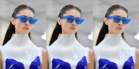 Eyewear, Ear, Vision care, Blue, Glasses, Hairstyle, Style, Earrings, Sunglasses, Fashion accessory,