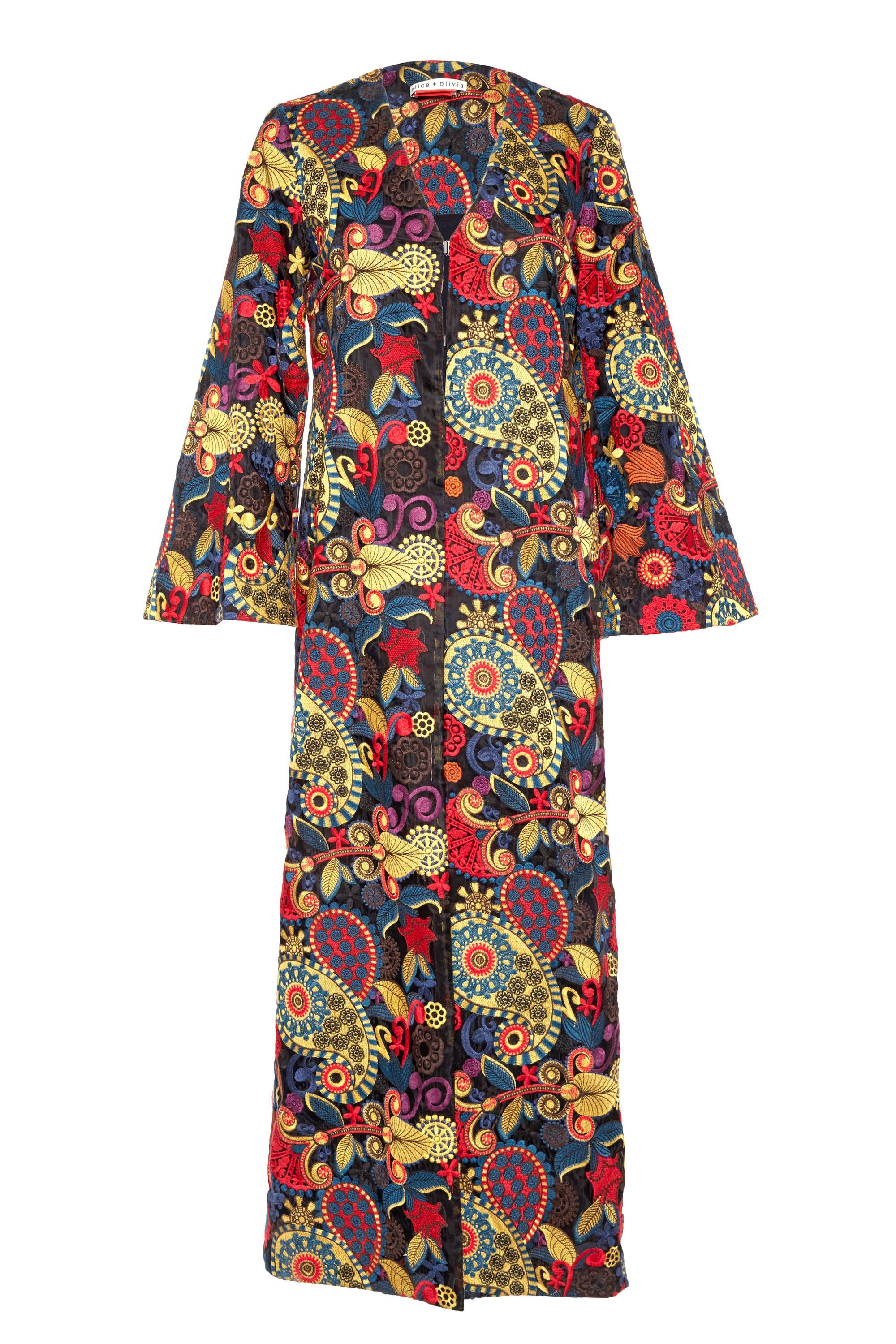 "<p>Alice and Olivia Stara Open Frong Kaftan, $795; <a href=""https://www.aliceandolivia.com/stara-open-front-kaftan.html"" target=""_blank"">aliceandolivia.com</a></p>"