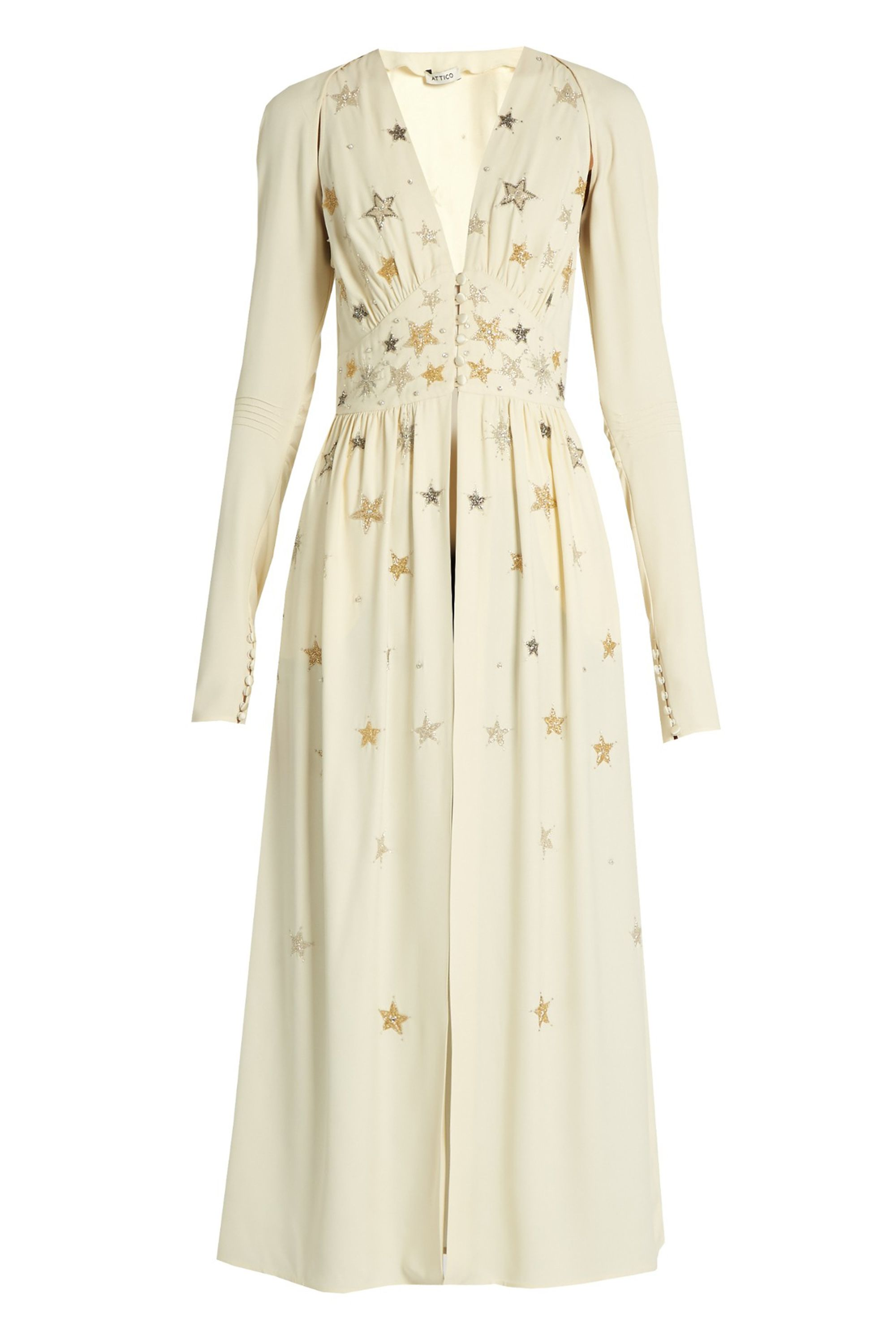 "<p>Attico Cher Star-Embellished Crepe Dress, $1,235; <a href=""http://www.matchesfashion.com/us/products/Attico-Cher-star-embellished-crepe-dress-1067541"" target=""_blank"">matchesfashion.com</a></p>"