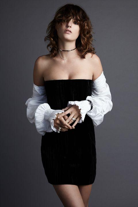 Sleeve, Strapless dress, Shoulder, Joint, Waist, Dress, Cocktail dress, Day dress, Fashion, Black,