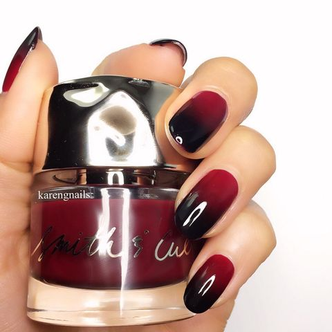 "<p>With Halloween around the corner, this vampy ombre&nbsp;is a subtle way to celebrate the holiday.</p><p><em data-redactor-tag=""em"" data-verified=""redactor"">Design by&nbsp;<span class=""redactor-invisible-space"" data-verified=""redactor"" data-redactor-tag=""span"" data-redactor-class=""redactor-invisible-space""></span></em><a href=""https://www.instagram.com/p/9OsRPGQ3xi/""><em data-redactor-tag=""em"" data-verified=""redactor"">@karengnails</em></a></p>"