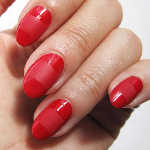 "<p>After painting your&nbsp;nails in your favorite&nbsp;red,&nbsp;let the lacquer&nbsp;dry and add a&nbsp;horizontal swipe in a matte topcoat for a contrasting finish.&nbsp;</p><p>Design by&nbsp;<span class=""redactor-invisible-space"" data-verified=""redactor"" data-redactor-tag=""span"" data-redactor-class=""redactor-invisible-space""></span><a href=""https://www.instagram.com/nataliepavloskinails/"" title=""nataliepavloskinails"">nataliepavloskinails</a><br></p>"