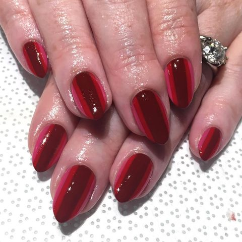 Lined Up - 19 Easy Red Nail Designs - Cute Nail Art Ideas For A Red Manicure