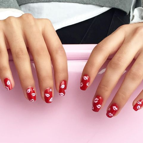 <p>Add a&nbsp;print to a basic&nbsp;red nail,&nbsp; - 19 Easy Red Nail Designs - Cute Nail Art Ideas For A Red Manicure