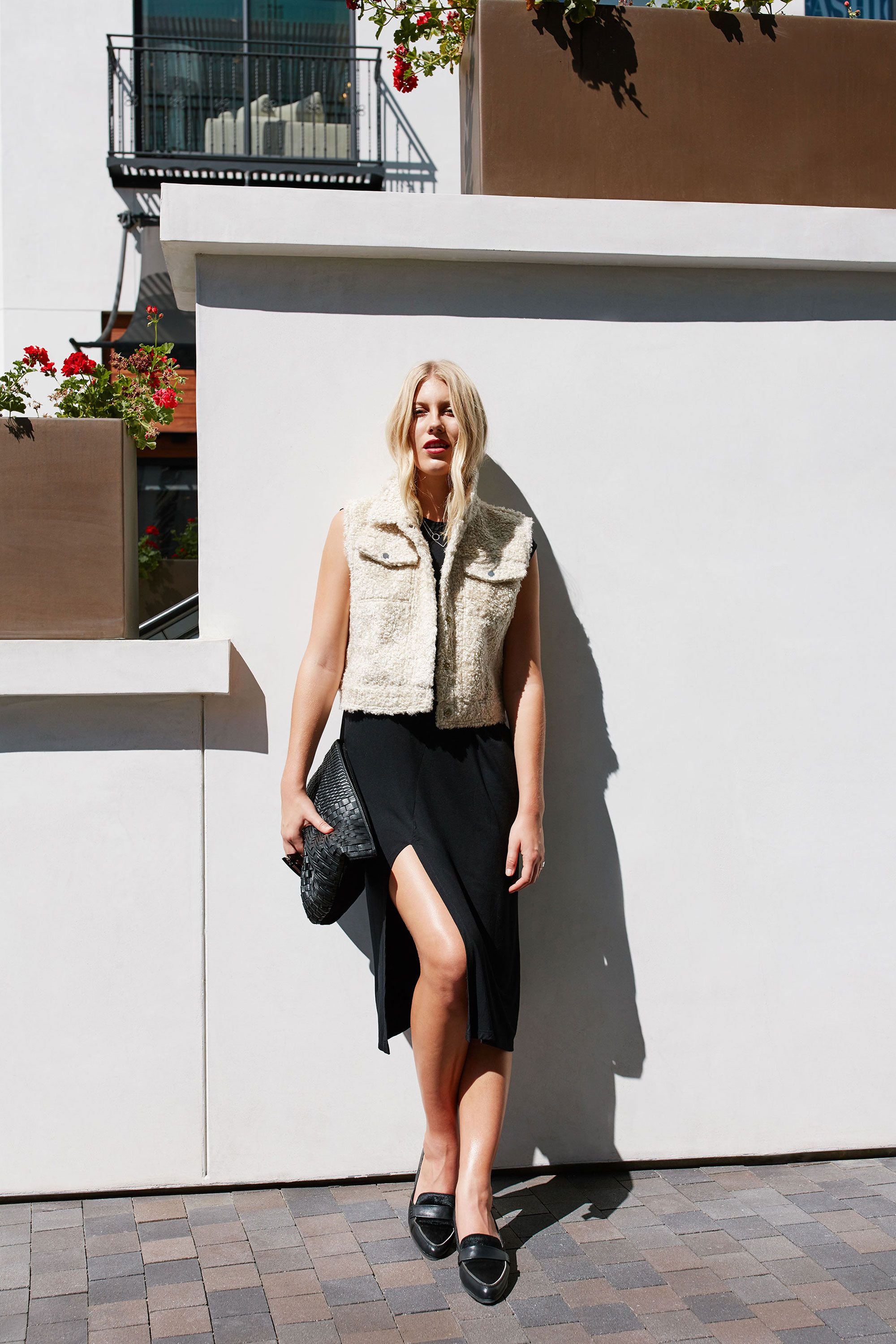 "<p>Pop on a contrasting piece of outerwear—like this nubby cropped vest—to break up the single continuous line. The layer defines your torso while highlighting mile-long legs. </p><p><br></p><p><em data-redactor-tag=""em"">Cinq à Sept Cora Shearling Fur-Patch Vest, $1,295, <a href=""http://www.neimanmarcus.com/Cinq-Sept/prod193340085_cat59990775__/p.prod?icid=&searchType=EndecaDrivenCat&rte=%252Fcategory.jsp%253FitemId%253Dcat59990775%2526pageSize%253D120%2526Nao%253D0%2526refinements%253D&eItemId=prod193340085&cmCat=product"" target=""_blank"">neimanmarcus.com</a>; Kate Spade New York Corina Pointy Toe Loafers, $250, <a href=""http://shop.nordstrom.com/s/kate-spade-new-york-corina-pointy-toe-loafer-women/4174853"" target=""_blank"">nordstrom.com</a>; Loewe Large Logo Embossed Calfskin Leather Pouch, $650, <a href=""http://shop.nordstrom.com/s/loewe-large-logo-embossed-calfskin-leather-pouch/3963227"" target=""_blank"">nordstrom.com</a>; H&M 2-Pack Necklaces, $7.99, <a href=""http://www.hm.com/us/product/56800?article=56800-B"" target=""_blank"">hm.com</a></em></p>"