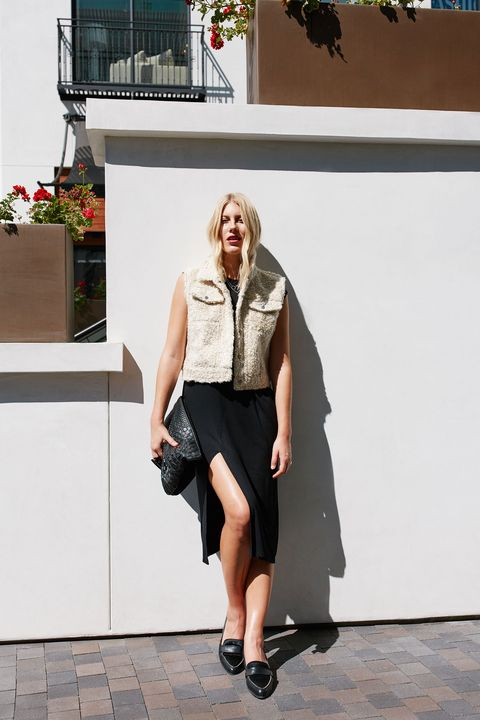 """<p>Pop on a contrasting piece of outerwear—like this nubby cropped vest—to break up the single continuous line. The layer defines your torso while highlighting mile-long legs. </p><p><br></p><p><em data-redactor-tag=""""em"""">Cinq à Sept Cora Shearling Fur-Patch Vest, $1,295, <a href=""""http://www.neimanmarcus.com/Cinq-Sept/prod193340085_cat59990775__/p.prod?icid=&amp;searchType=EndecaDrivenCat&amp;rte=%252Fcategory.jsp%253FitemId%253Dcat59990775%2526pageSize%253D120%2526Nao%253D0%2526refinements%253D&amp;eItemId=prod193340085&amp;cmCat=product"""" target=""""_blank"""">neimanmarcus.com</a>; Kate Spade New York Corina Pointy Toe Loafers, $250, <a href=""""http://shop.nordstrom.com/s/kate-spade-new-york-corina-pointy-toe-loafer-women/4174853"""" target=""""_blank"""">nordstrom.com</a>; Loewe Large Logo Embossed Calfskin Leather Pouch, $650, <a href=""""http://shop.nordstrom.com/s/loewe-large-logo-embossed-calfskin-leather-pouch/3963227"""" target=""""_blank"""">nordstrom.com</a>; H&amp;M 2-Pack Necklaces, $7.99, <a href=""""http://www.hm.com/us/product/56800?article=56800-B"""" target=""""_blank"""">hm.com</a></em></p>"""