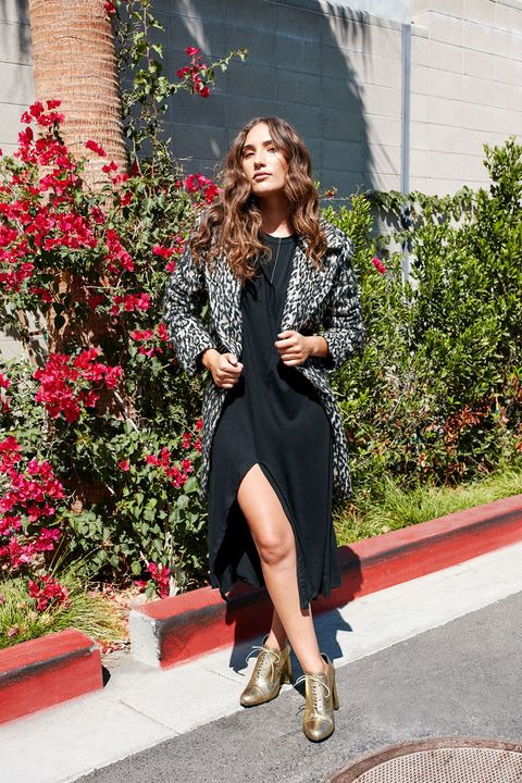 """<p>A printed coat with a dramatic collar draws attention upward,&nbsp;an instant optical illusion that boosts stature for smaller frames. Keep it unbuttoned&nbsp;for an uninterrupted vertical line of vision, and add a neutral shoe for a final lengthening touch. </p><p><br></p><p><em data-redactor-tag=""""em"""">Rebecca Minkoff Luke Leopard Print Wool Blend Coat, $448, <a href=""""http://shop.nordstrom.com/s/rebecca-minkoff-luke-leopard-print-wool-blend-coat/4393605"""" target=""""_blank"""">nordstrom.com</a>; Bottega Veneta Metallic Side-Zip 85mm Bootie, $740, <a href=""""http://www.neimanmarcus.com/Bottega-Veneta-Metallic-Side-Zip-85mm-Bootie-Light-Gold/prod190380024_cat47190746__/p.prod?icid=&amp;searchType=EndecaDrivenCat&amp;rte=%252Fcategory.service%253FitemId%253Dcat47190746%2526pageSize%253D117%2526No%253D0%2526Ns%253DPCS_SORT%2526refinements%253D724&amp;eItemId=prod190380024&amp;cmCat=product"""" target=""""_blank"""">neimanmarcus.com</a>; Forever21 Bar Pendant Drop Necklace, $4.90, <a href=""""http://www.forever21.com/Product/Product.aspx?BR=f21&amp;Category=acc_jewelry-necklace-y-necklace&amp;ProductID=1000194996&amp;VariantID="""" target=""""_blank"""">forever21.com</a>; Simple Ring Pack, $18, <a href=""""http://www.urbanoutfitters.com/urban/catalog/productdetail.jsp?id=38833026&amp;category=W_ACC_JEWELRY&amp;color=070"""" target=""""_blank"""">urbanoutfitters.com</a></em></p>"""