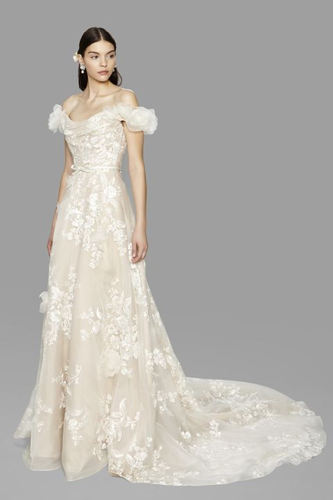 <p>An OTS neckline is inherently romantic, so it&nbsp;translates perfectly into bridal wear. Go for a full, tulle-wrapped version seen here at Marchesa, or go vintage in a fitted satin dress.&nbsp;</p>