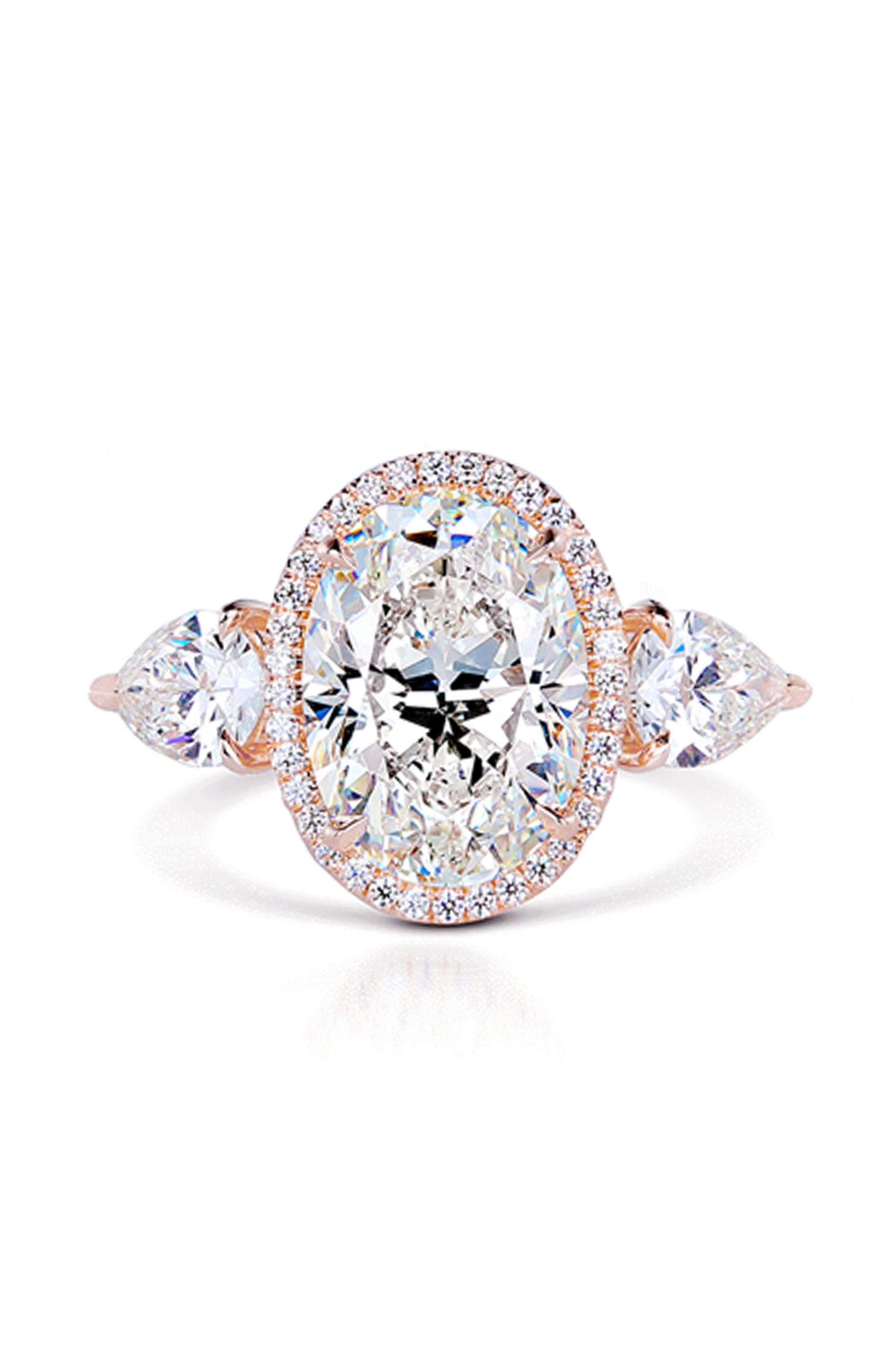 diamond shaped rings gold p stone ring halo engagement pear white multi