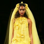 Yellow, Textile, Dress, Formal wear, Gown, Costume design, Beauty, Fashion, Youth, Fashion model,