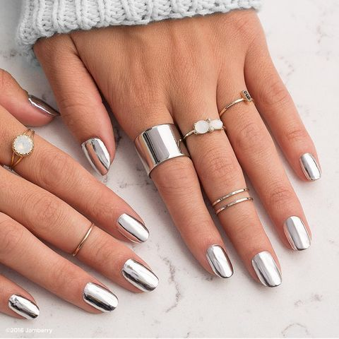 "<p><a href=""https://www.youtube.com/watch?v=k6aLA8UYGks"" target=""_blank"" data-tracking-id=""recirc-text-link"">Chrome nails</a> are heavily on our minds, but you can skip the salon with easy-to-apply <a href=""https://www.jamberry.com/us/en/shop/products/metallic-chrome-silver"" target=""_blank"" data-tracking-id=""recirc-text-link"">nail wraps</a>.&nbsp;&nbsp;</p><p><em data-redactor-tag=""em"" data-verified=""redactor"">Design by&nbsp;</em><a href=""https://www.instagram.com/p/BK0ssYDgrmQ/"" target=""_blank""><em data-redactor-tag=""em"" data-verified=""redactor"">@jamberry</em></a></p>"