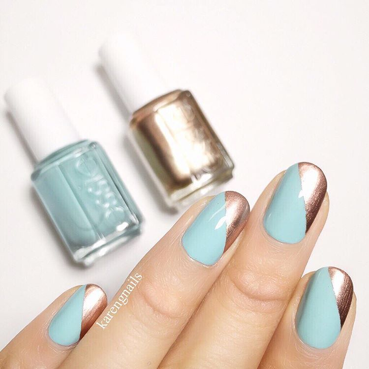 "<p>Tiffany blue and gold is a classic winter combination. Wear the two colors on the diagonal for a sweet but graphic design. </p><p><em data-redactor-tag=""em"" data-verified=""redactor"">Design by <span class=""redactor-invisible-space"" data-verified=""redactor"" data-redactor-tag=""span"" data-redactor-class=""redactor-invisible-space""></span></em><a href=""https://www.instagram.com/p/BIQMDDADR0A/"" target=""_blank""><em data-redactor-tag=""em"" data-verified=""redactor"">@asabree</em></a><br></p>"