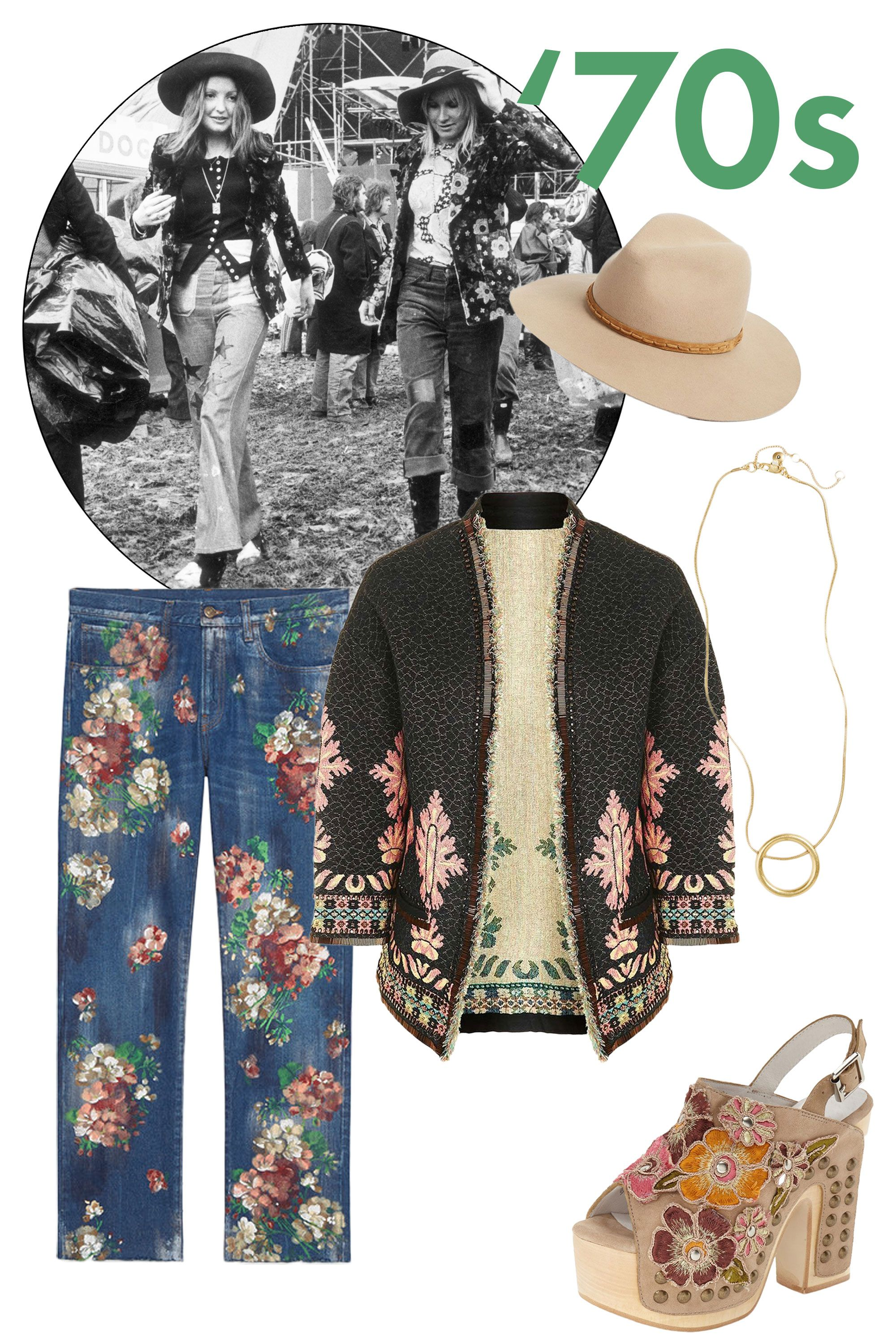 "<p>A '70s love child never goes out of style. Feel the flower power with hand-illustrated jeans and floral clogs.</p><p><em data-redactor-tag=""em"" data-verified=""redactor"">Rag & Bone hat, $195, <a href=""http://www.rag-bone.com/womens/fedoras-hats/floppy-brim-fedora-190297040183.html#start=1"" target=""_blank"" data-tracking-id=""recirc-text-link"">ragandbone.com</a>; Madewell necklace, $32, <a href=""https://www.madewell.com/madewell_category/JEWELRY/shopalljewelry/PRDOVR~E5573/E5573.jsp"" target=""_blank"" data-tracking-id=""recirc-text-link"">madewell.com</a>; Topshop jacket, $150, <a href=""http://shop.nordstrom.com/s/topshop-beaded-trim-brocade-trophy-jacket/4487055?&cm_mmc=Mindshare_Nordstrom-_-HalloweenYC-_-Hearst-_-proactive"" target=""_blank"" data-tracking-id=""recirc-text-link"">nordstrom.com</a>; Gucci jeans, $1,150, <a href=""https://www.gucci.com/us/en/pr/men/mens-ready-to-wear/mens-denim/painted-cropped-denim-pant-p-408635XD4814571?gclid=CK7qjeHwwc8CFcImhgodJxEM9g"" target=""_blank"" data-tracking-id=""recirc-text-link"">gucci.com</a>; Jeffrey Campbell shoes, $180, <a href=""http://shop.nordstrom.com/s/jeffrey-campbell-vuelta-platform-sandal-women/4267798?&cm_mmc=Mindshare_Nordstrom-_-HalloweenYC-_-Hearst-_-proactive"" target=""_blank"" data-tracking-id=""recirc-text-link"">nordstrom.com</a>. </em></p>"