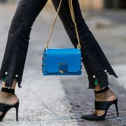Footwear, Blue, Brown, Textile, Bag, Joint, High heels, Outerwear, Fashion accessory, Style,