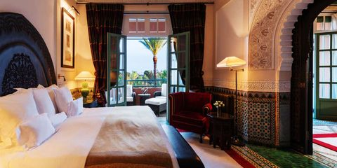 "<p>As a fan of Anthony Bourdain, I'm always inspired by his trips and visits with locals, and one place that's on my list is Marrakech. If I couldn't finagle a stay with a famous expat and am going the ""splurge"" route, I'd definitely stay in a suite at La Mamounia. It seems to have a good combination of history (it's surrounded by the gardens given to Prince Al Mamoun as a wedding gift), culture, and luxury. – Mariel Tyler, Photo Editor</p>  <p><em data-redactor-tag=""em"" data-verified=""redactor"">For more information visit </em><a href=""http://www.mamounia.com/en/""><em data-redactor-tag=""em"" data-verified=""redactor""></em></a><em data-redactor-tag=""em"" data-verified=""redactor""><a href=""http://www.mamounia.com"">www.mamounia.com</a></em></p>"