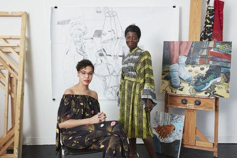 927c9603d Jordan Casteel (left) and Thelma Golden in Casteel's studio at the Studio  Museum with, from left, Harlem Vendor, Client, and Nike.
