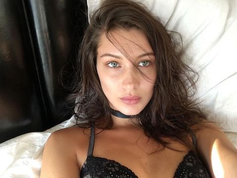 Bella Hadid Shows Her Excitement for the VS Fashion Show with a Sexy Lingerie Selfie