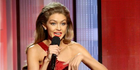 """<p>The AMAs were bound to poke some fun at the recent election results and Gigi Hadid's <a href=""""http://www.marieclaire.com/celebrity/a23726/gigi-hadid-melania-trump-impression/"""" target=""""_blank"""" data-tracking-id=""""recirc-text-link"""">impression of Melania Trump</a> was all that anyone can talk about. Some found it hilarious, but many Trump supporters lashed out at the model, which led to a sorry, but not sorry note that Hadid posted to Twitter <a href=""""http://www.marieclaire.com/celebrity/news/a23774/gigi-hadid-melania-trump-impression-statement/"""" target=""""_blank"""" data-tracking-id=""""recirc-text-link"""">later the next day</a>.</p>"""
