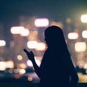 Night, Light, Backlighting, Darkness, Tints and shades, Street fashion, Midnight, Long hair, Silhouette,