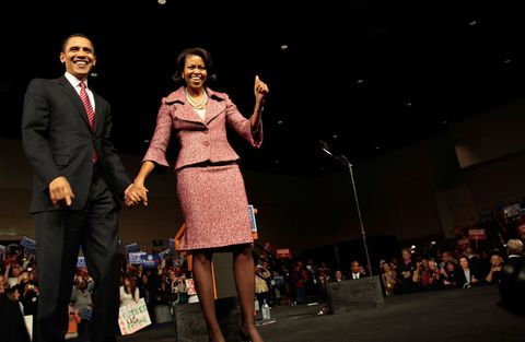 "<p>          <strong data-verified=""redactor"" data-redactor-tag=""strong"">When: </strong>January 26, 2008</p>  <p><strong data-verified=""redactor"" data-redactor-tag=""strong"">Where: </strong>Victory rally at the Columbia Metropolitan Convention Center in Columbia, South Carolina</p>  <p><strong data-verified=""redactor"" data-redactor-tag=""strong"">Wearing: </strong>unknown </p>  <p><strong data-verified=""redactor"" data-redactor-tag=""strong""></strong><strong data-verified=""redactor"" data-redactor-tag=""strong"">Why it mattered:</strong> The First Lady's style is still emerging here. ""I think this look is a little subdued,"" says Dincuff. ""She's playing it safe. At the same time, she's still embracing color with her signature confidence.""</p>"