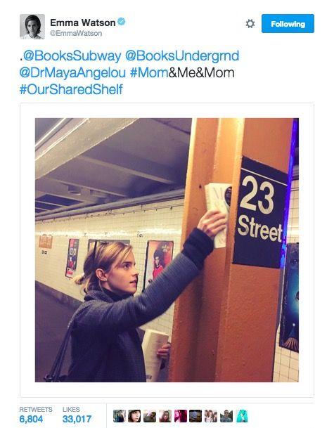 Emma Watson leaves Maya Angelou books on the subway