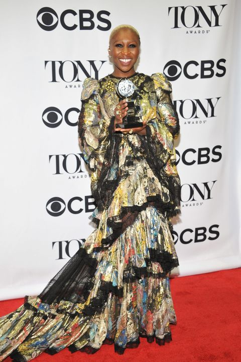 <p>Big shoulders and a bold print make up Cynthia Erivo's theatrical-glam look at the Tonys.</p>