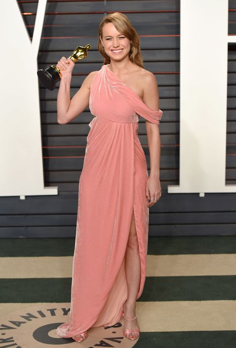 <p>Two relative newcomers who made a big splash this year: Brie Larson and Monse. She wore this velvet creation to an Oscars' after-party.</p>